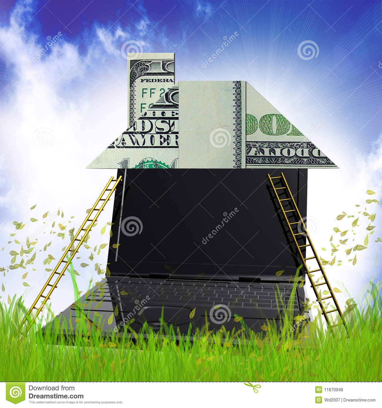 Building Money House Origami In The Meadow Royalty Free
