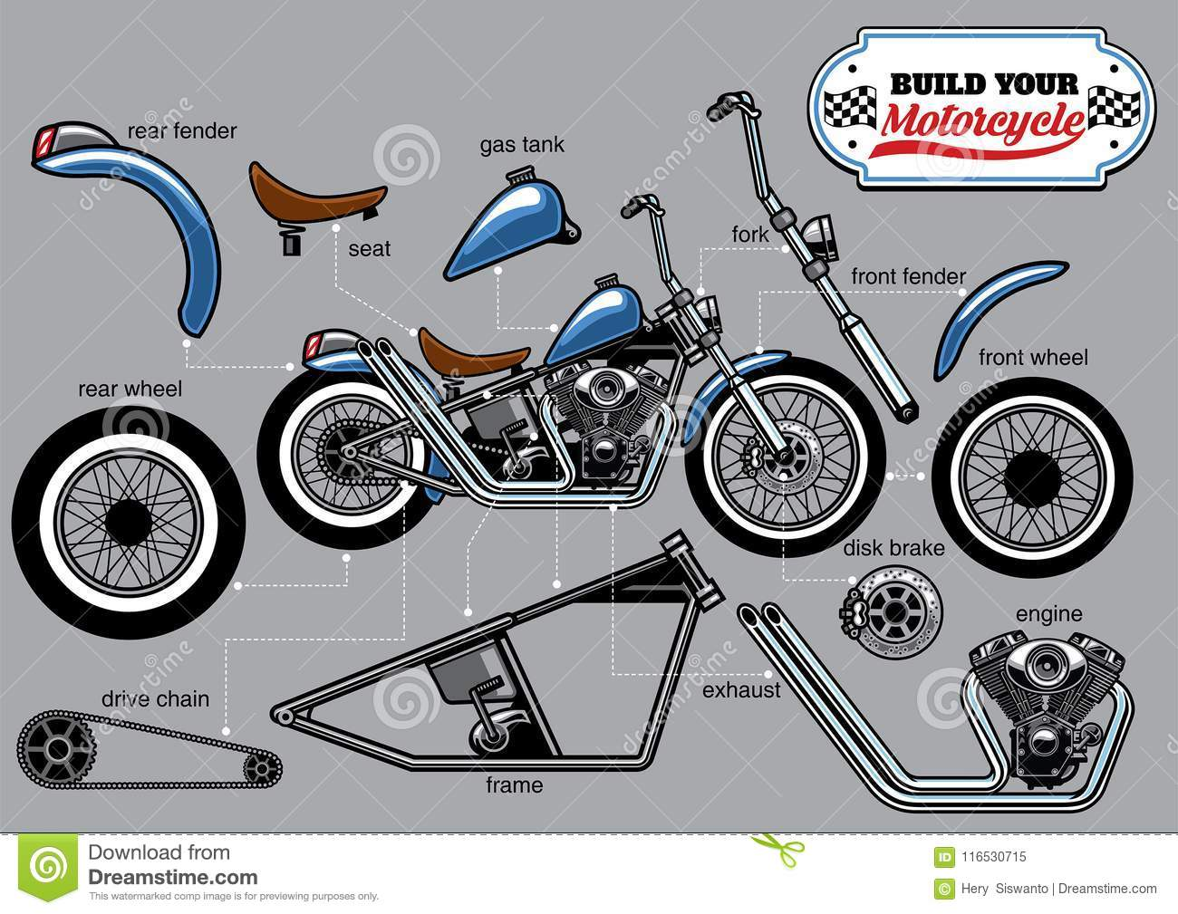 Building Motorcycle Parts Set Stock Vector Illustration Of Seat