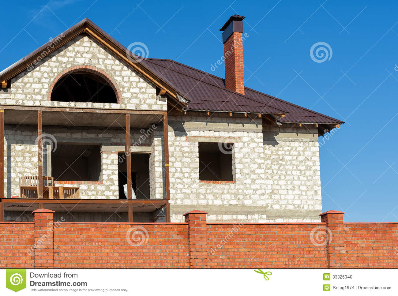 New home and roof building stock photo for House roof construction