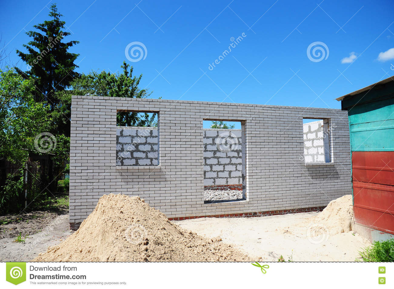 Construction of building of concrete house stock photo for Building site house