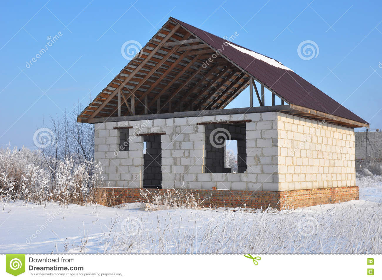 Roofing construction brick house work outdoor stock photo for Brick house construction