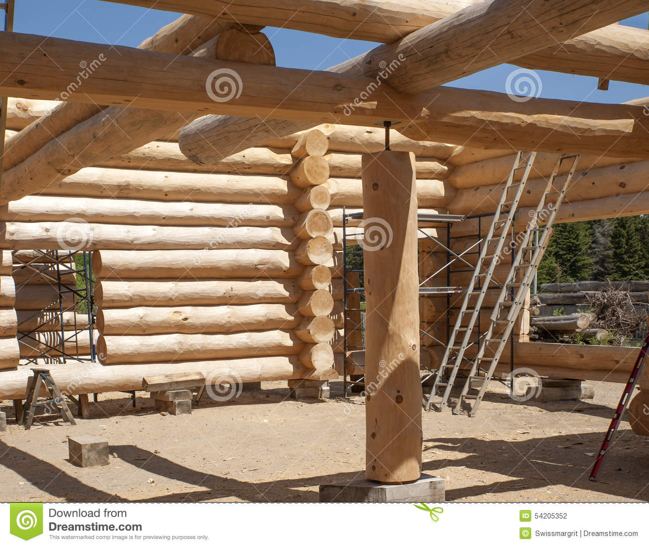 Building a new log home stock photo image 54205352 for Log construction