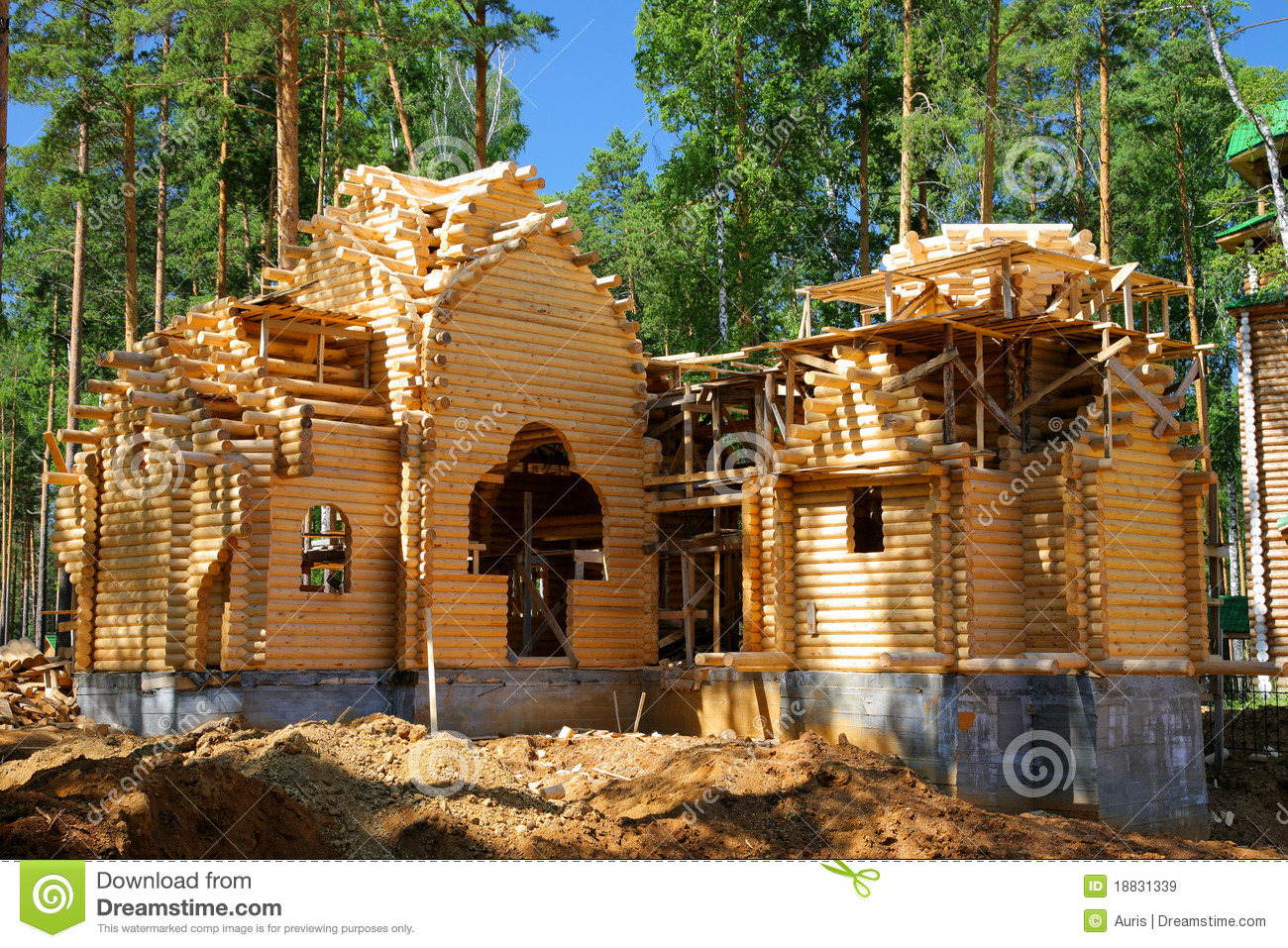 Building of the new log house. Building Of The New Log House Royalty Free Stock Images   Image