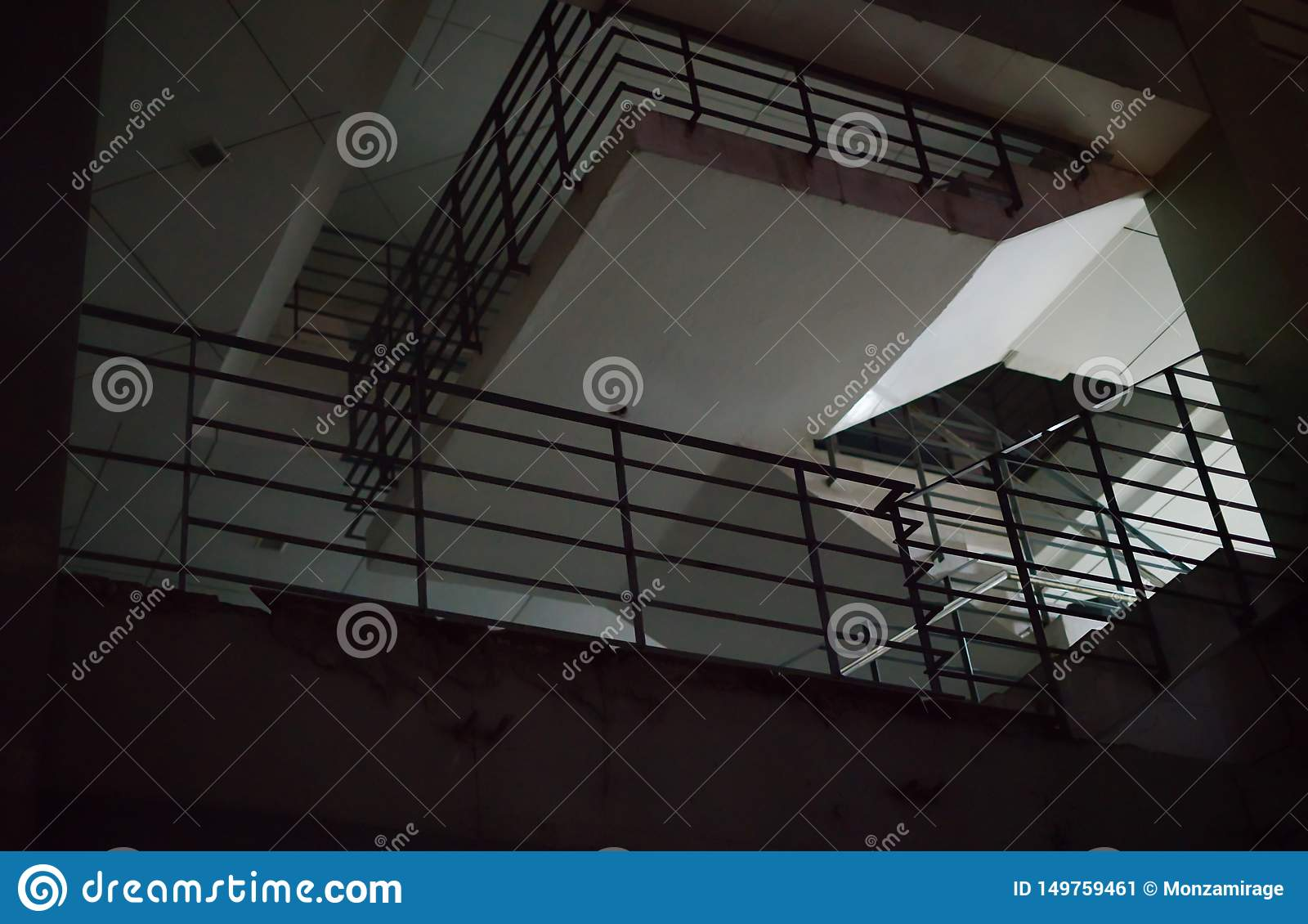 A Building Night Scene with Railings to create a mood.
