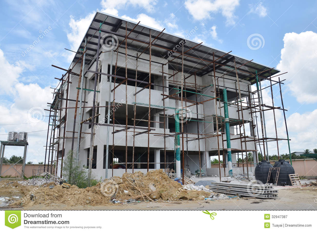 Small Building Construction : Building office construction at thailand stock image