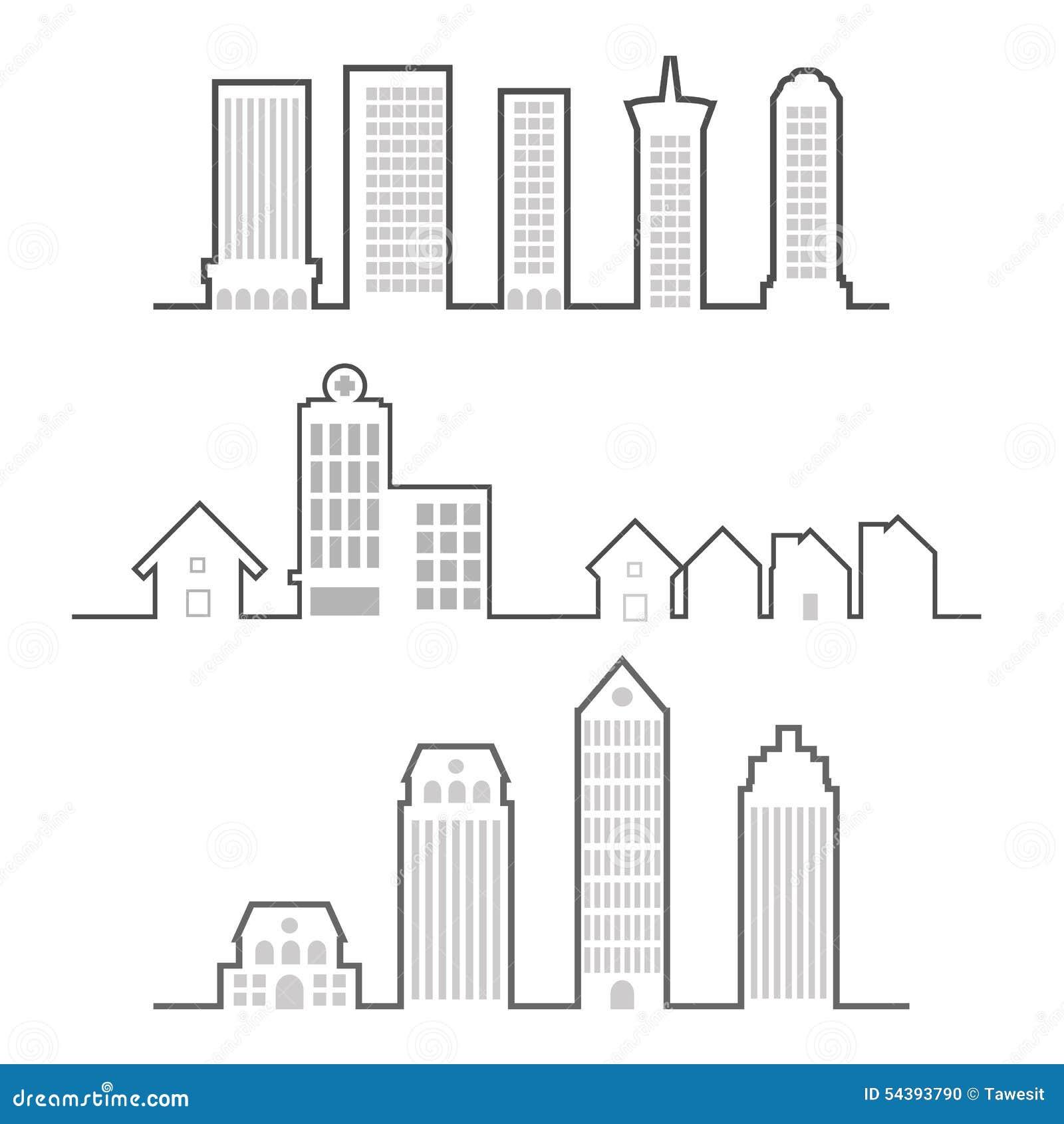 Line Art Building : Building outline stock vector illustration of skyline