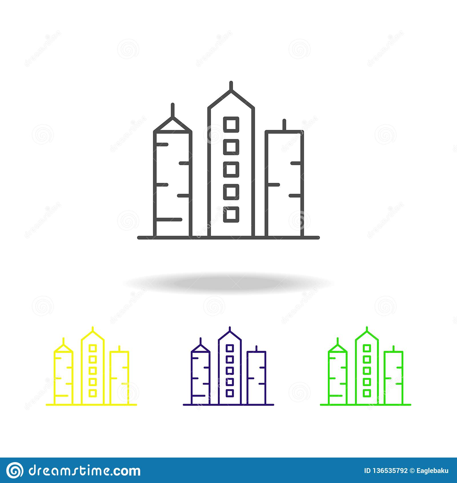 building outline multicolored icons element of architecture illustration   signs and symbols outline icon for websites