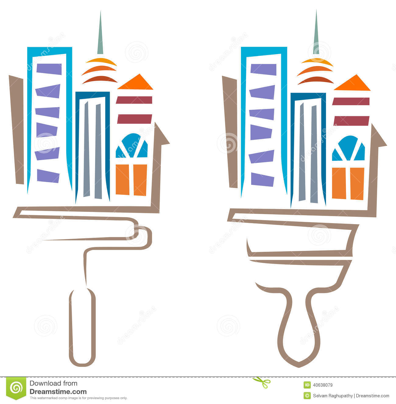 Building Painting Stock Vector Image 40638079