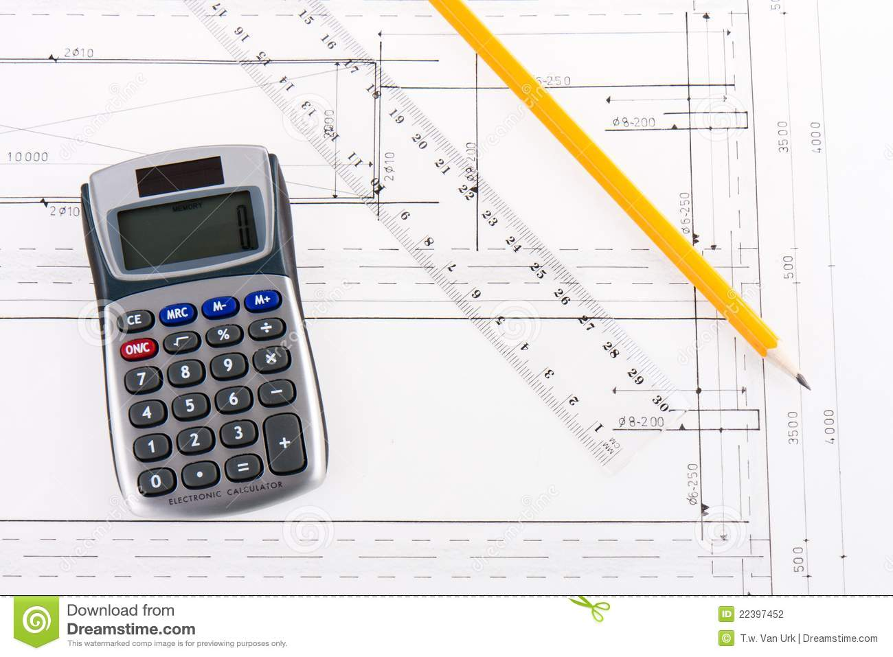 Building plan with calculator ruler and pencil stock for Home construction calculator