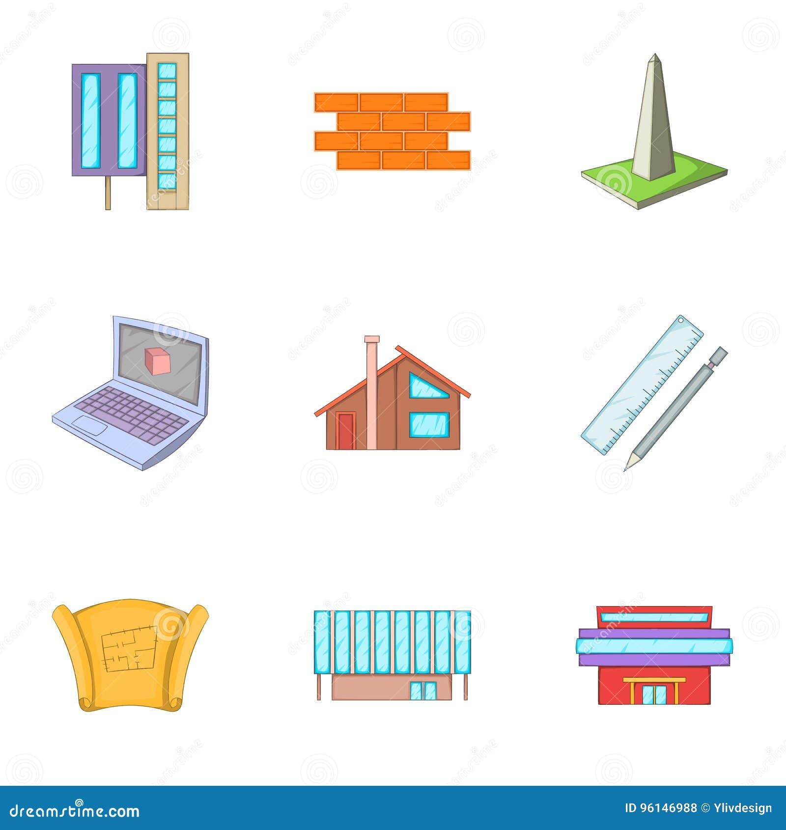 Building plan icons set cartoon style stock vector illustration building plan icons set cartoon style malvernweather Gallery