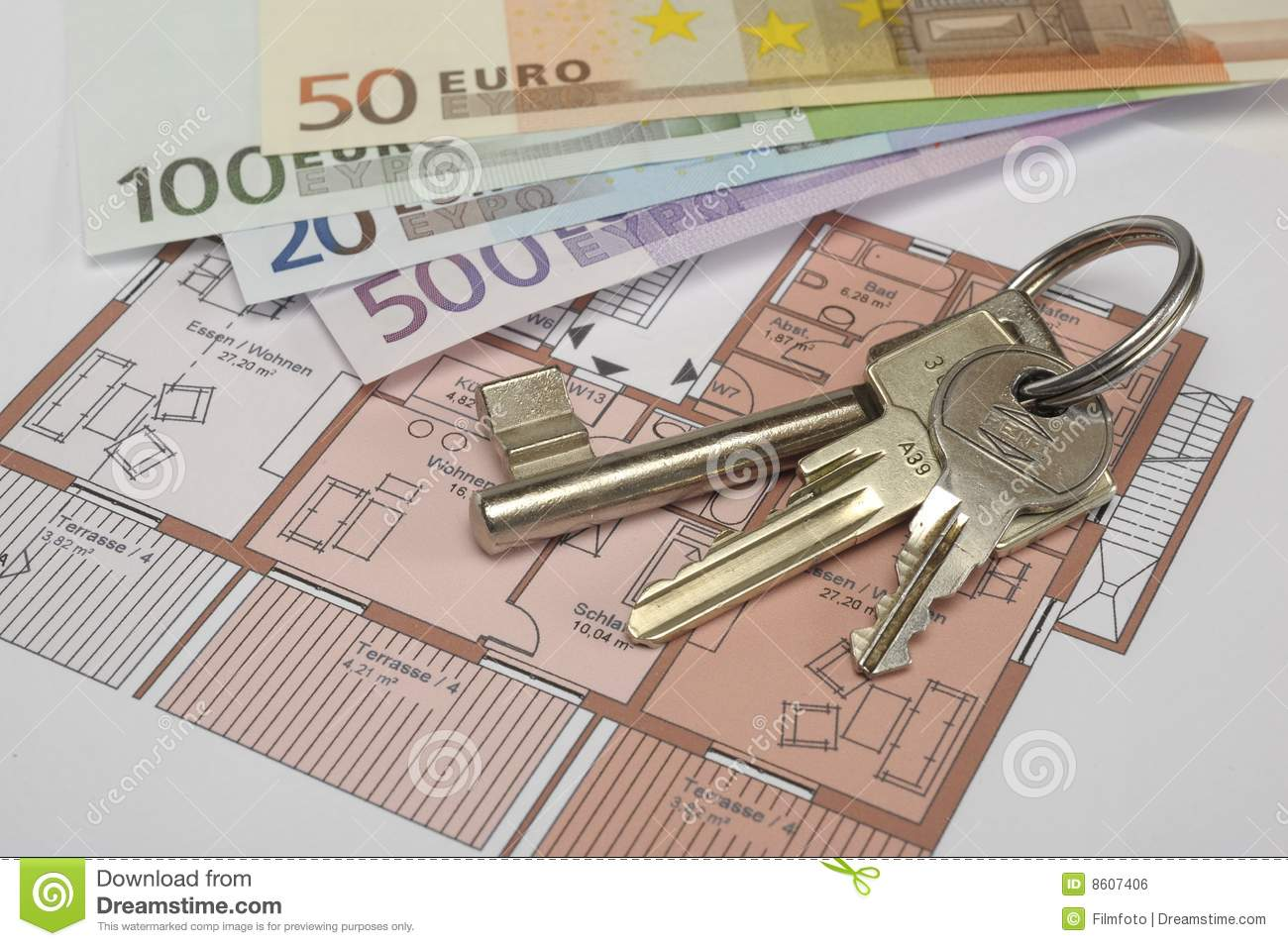 Building plan with keys and money royalty free stock image for Free money to build a house
