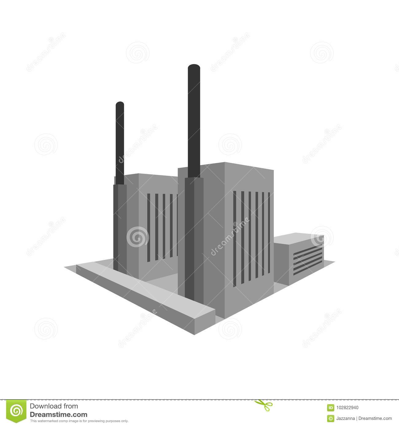 Building Power Plant Factory In Perspective Stock Vector