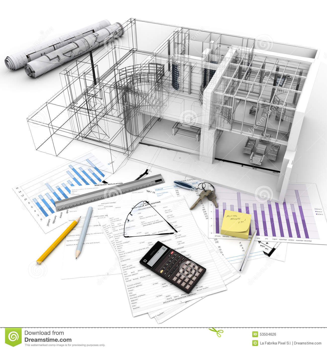 Building project process stock illustration image 53504626 for Build a house calculator free