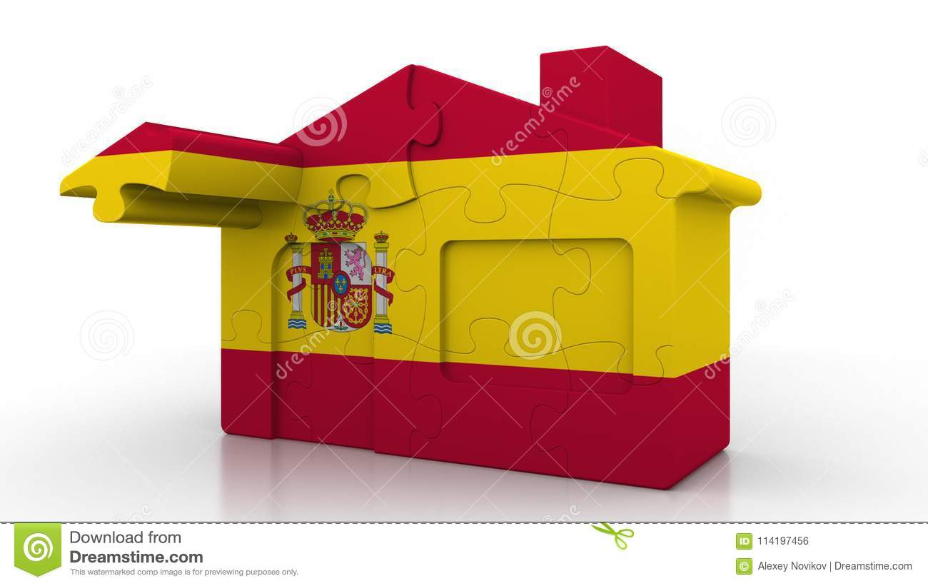 Building Puzzle House Featuring Flag Of Spain  Spanish
