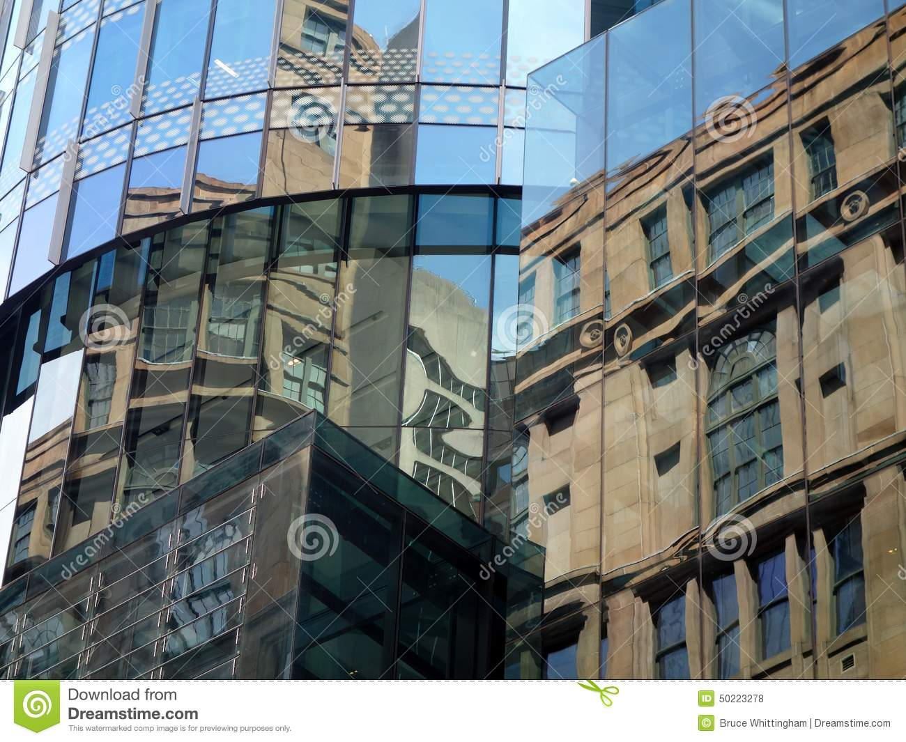 Reflections in glass building stock image cartoondealer for Refection facade
