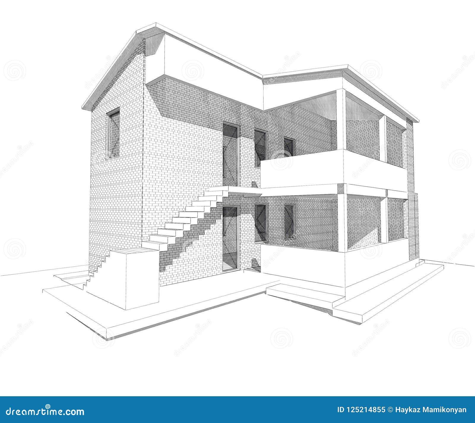 building residental design d d house drawing line exterior design d home rendering residential building caffe mini park home 125214855