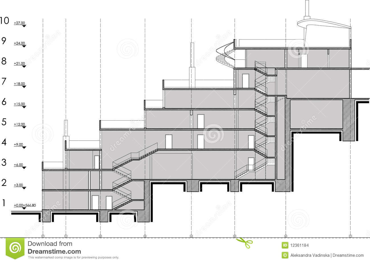 Building section drawing stock images image 12361184 for Architectural drawing and design for residential construction