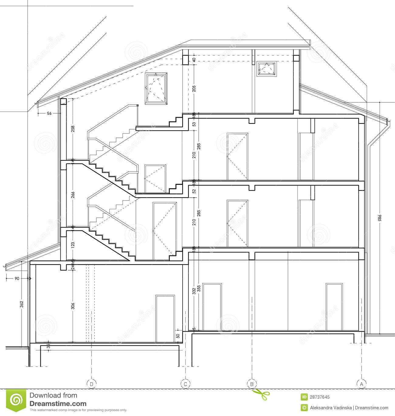 Building Section Drawing Stock Illustration Image Of