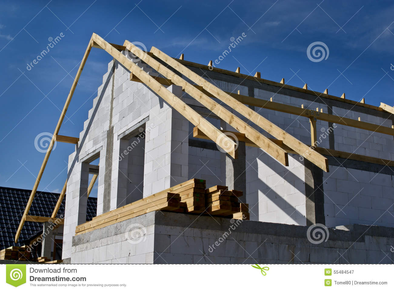 Building Semidetached House Stage Of Construction Stock