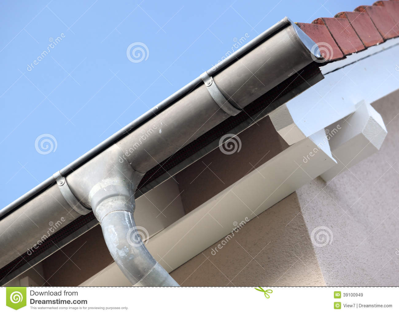 Building showing roof detail stock image image of for House roof drain pipes