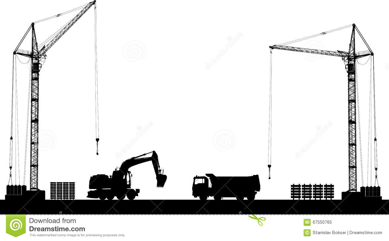 Black And White Building Construction : Building site with detailed silhouettes of construction