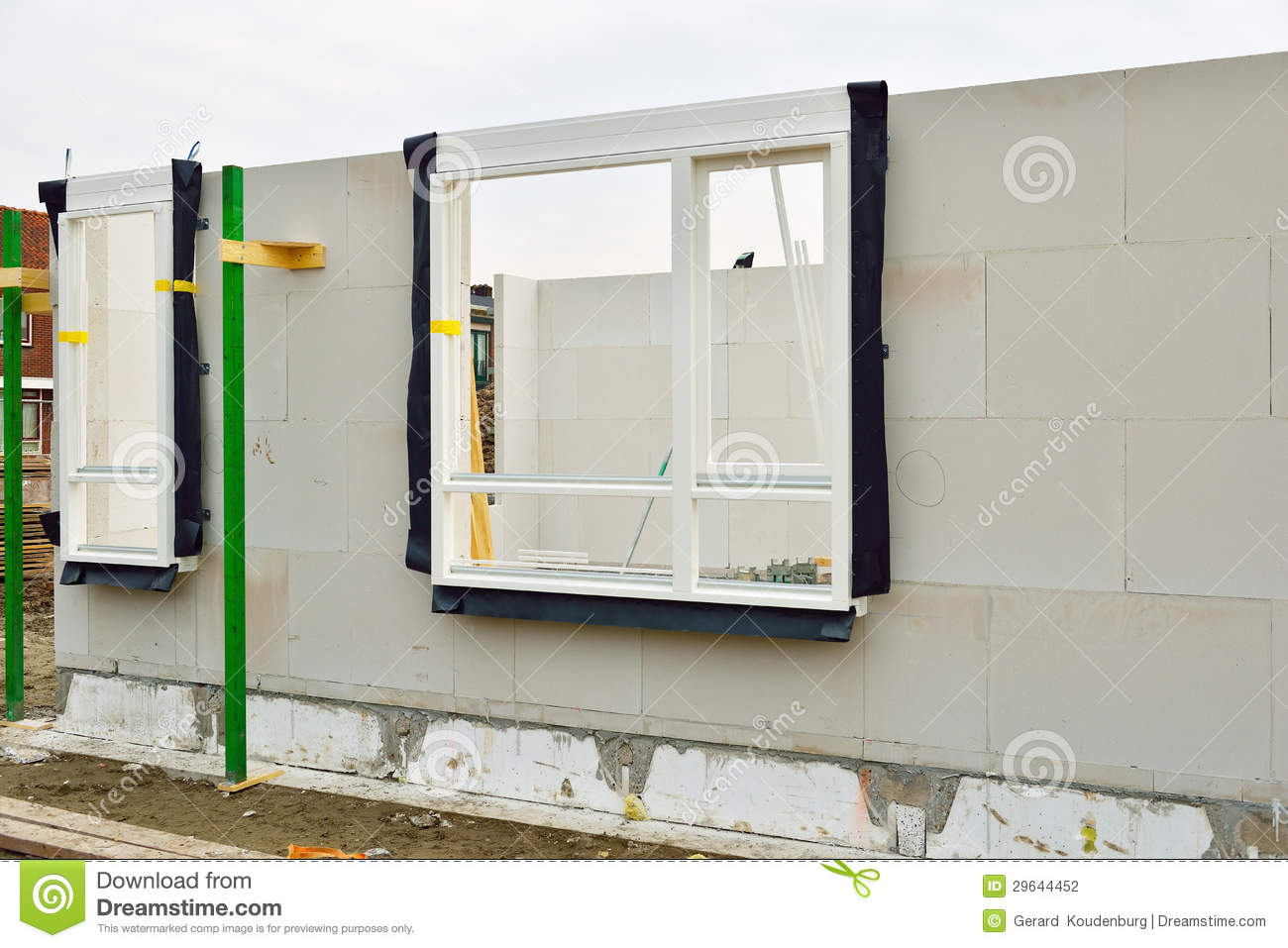 Building Site Of Houses With Window Frames Stock Photo - Image of ...