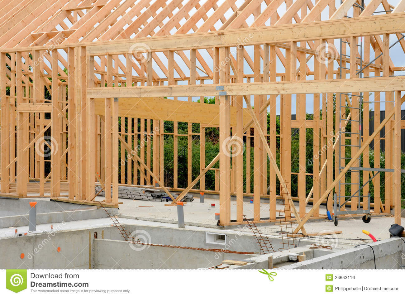 Building site of a wooden house
