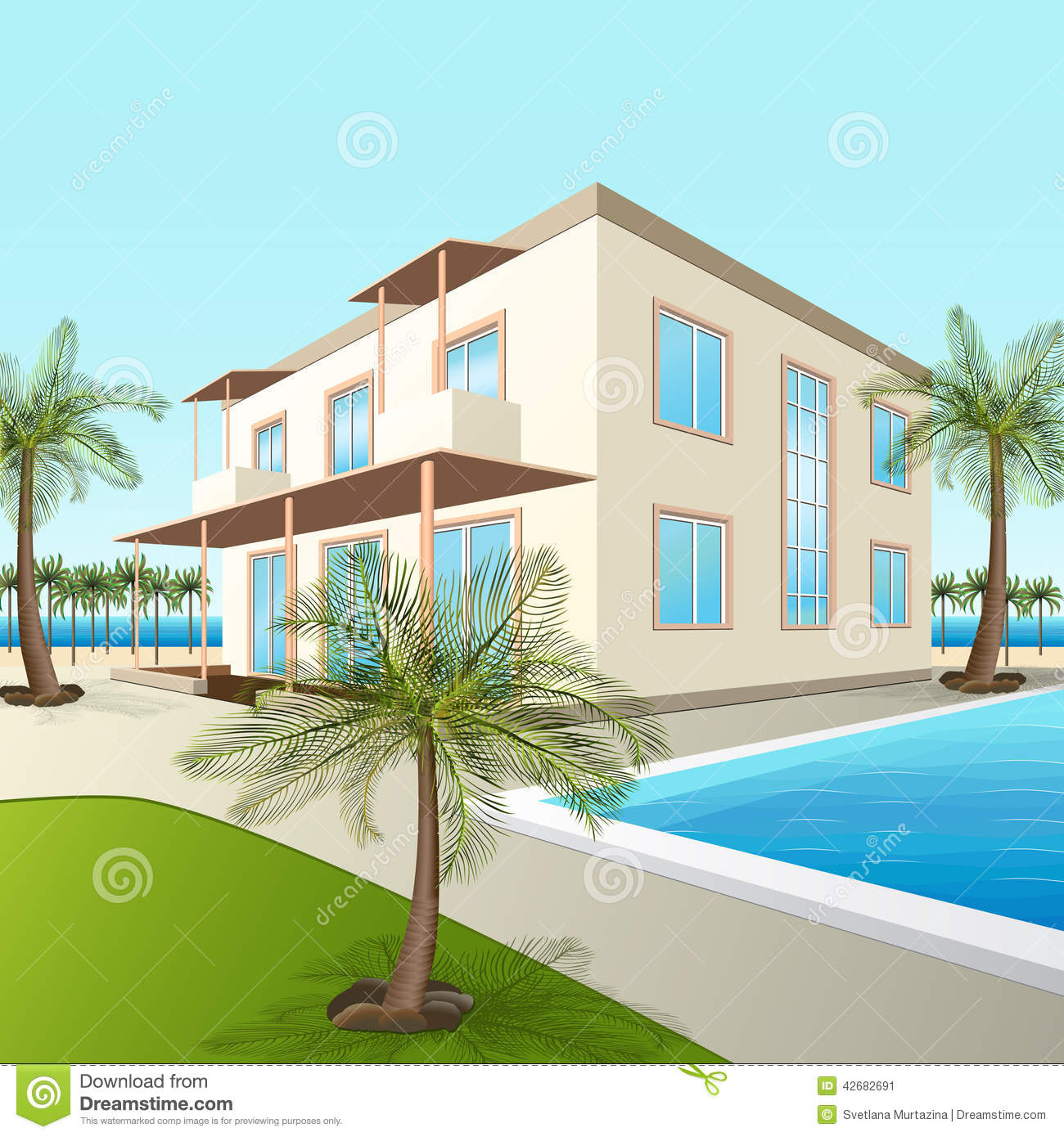 Building A Small Hotel With Sea And Palm Trees Stock