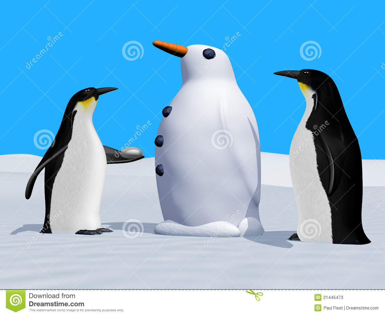 Building Snow Penguin Vector