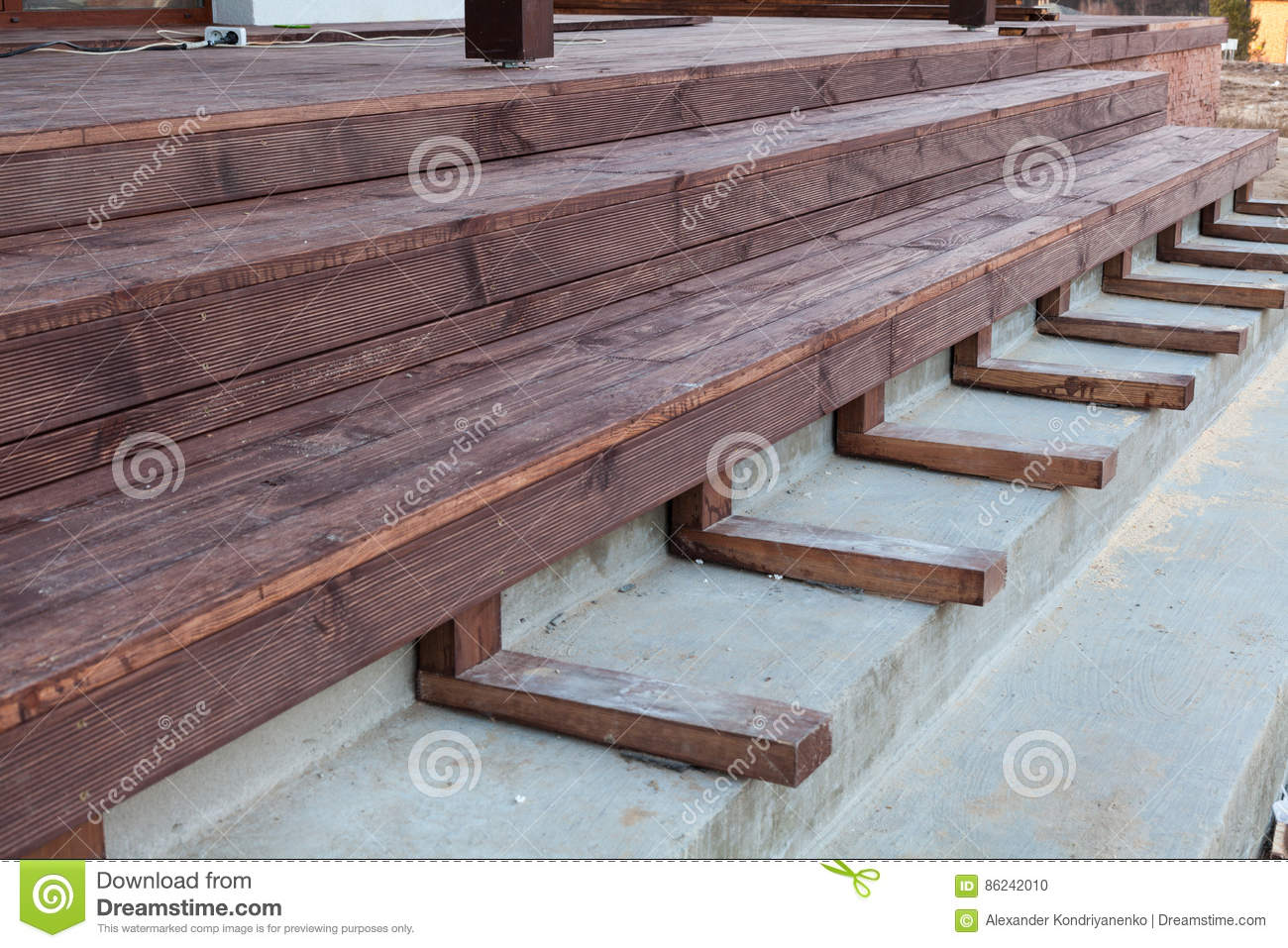 Building A Stairs To Wooden Terrace.
