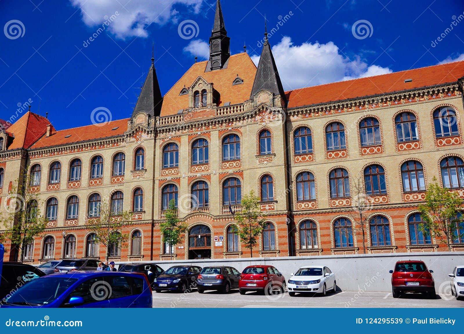 The building of the state engineering high school Fajnorovo nábrežie, Bratislava, Slovakia.
