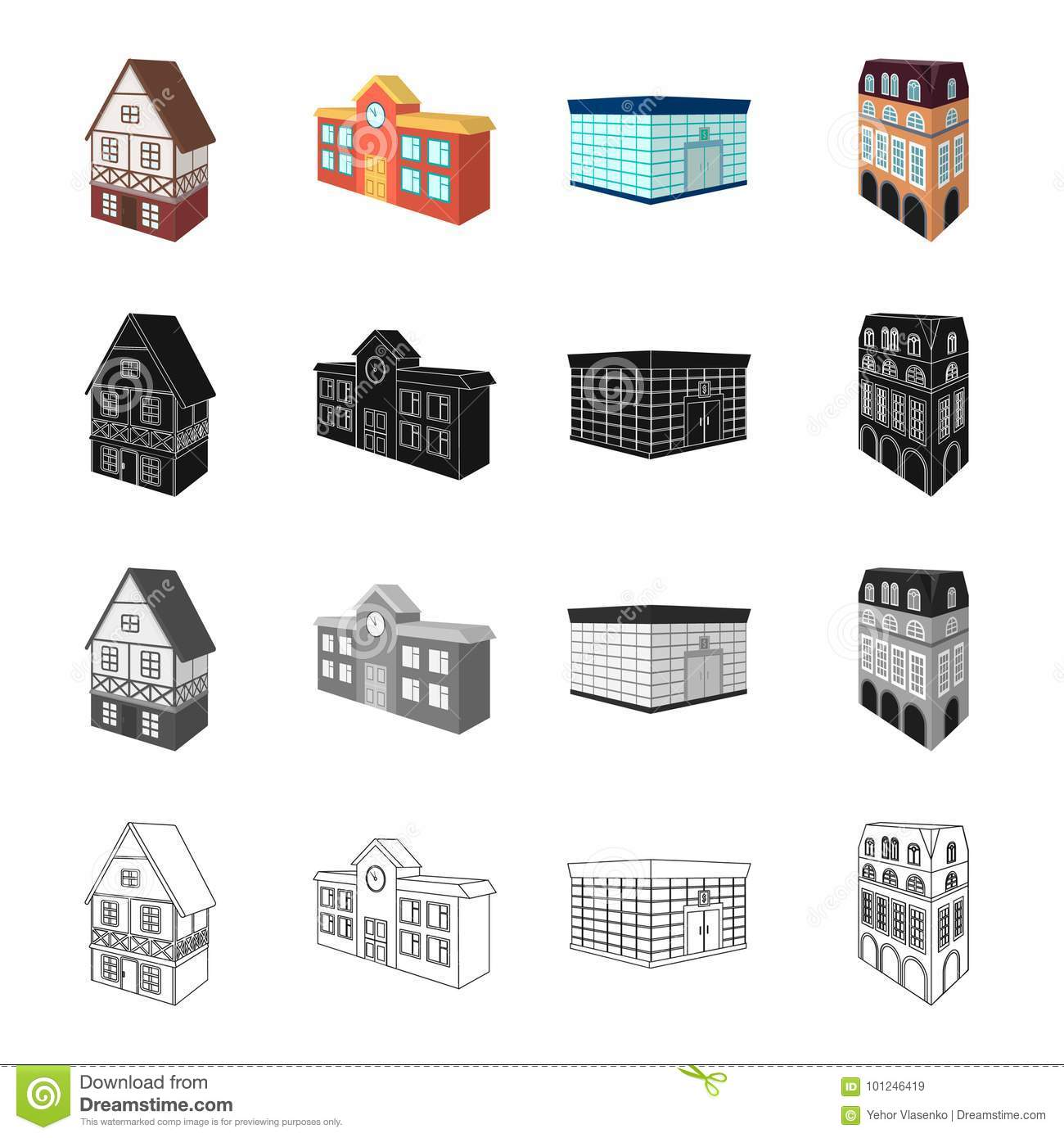 Building, Store, Library, And Other Web Icon In Cartoon Style