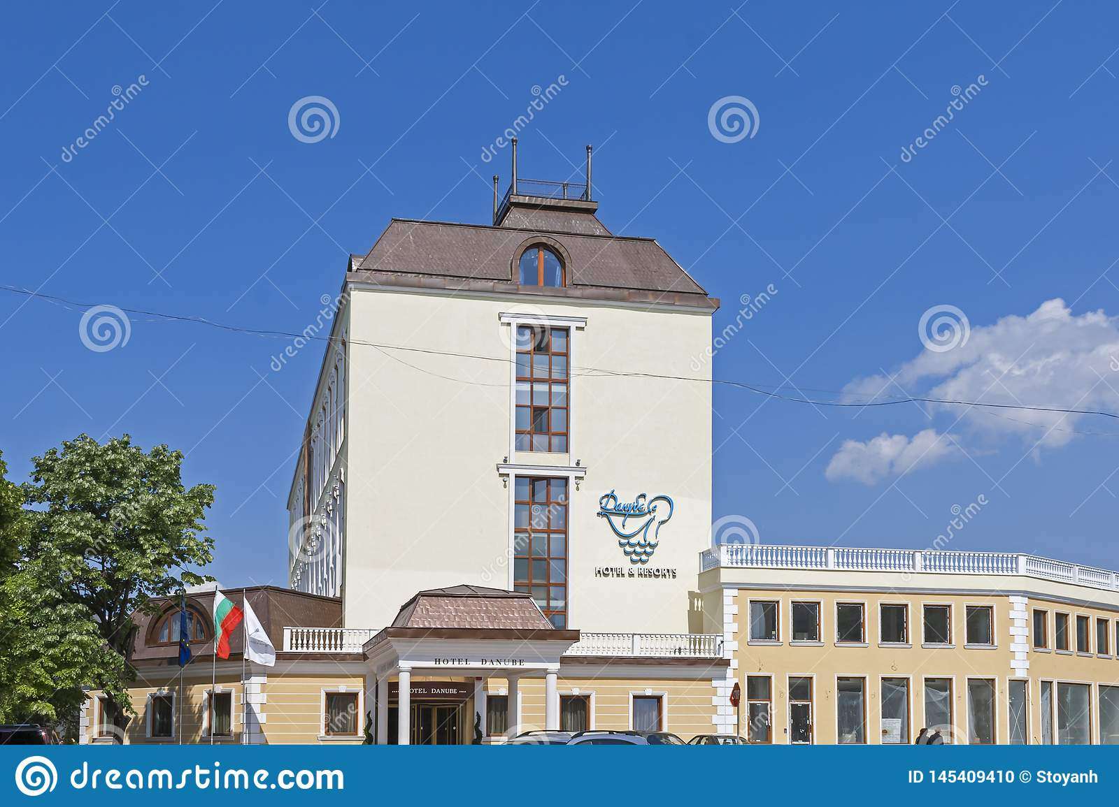 Building and street at the center of town of Silistra, Bulgaria