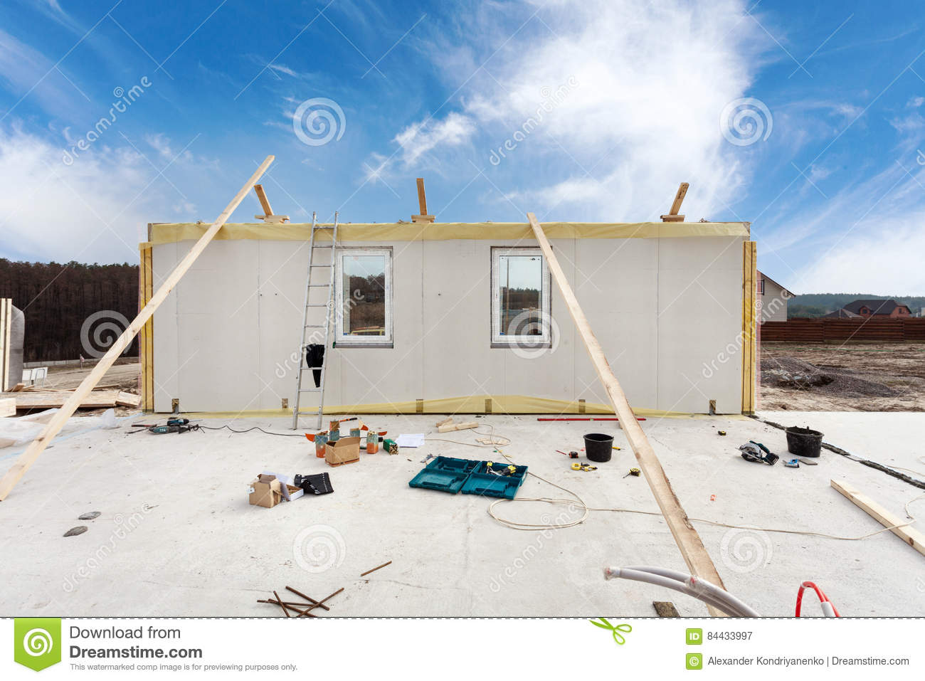 Building A Structural Insulated Panels Frame House Stock