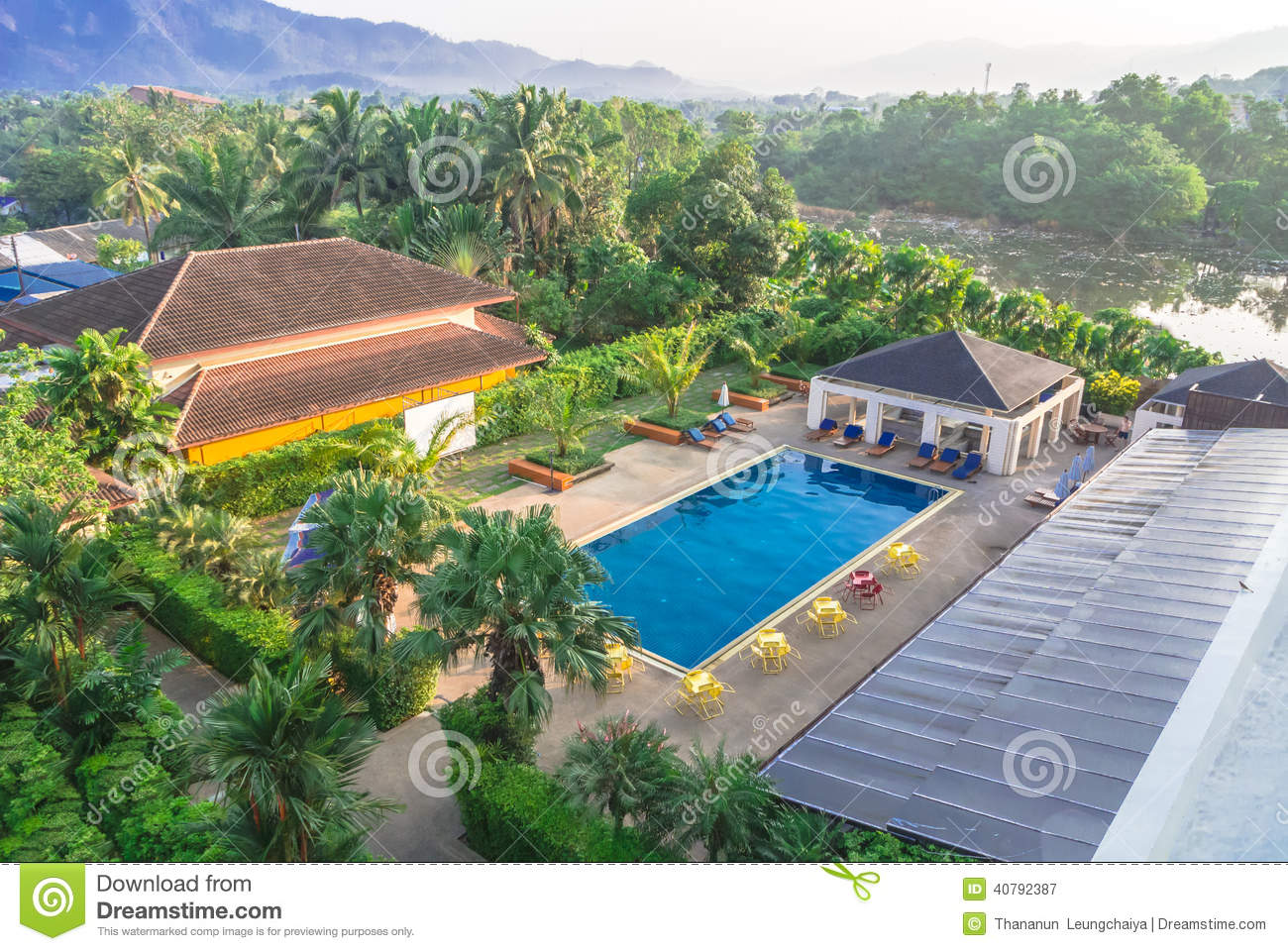 Building And Swimming Pool Riverside Stock Image Image 40792387
