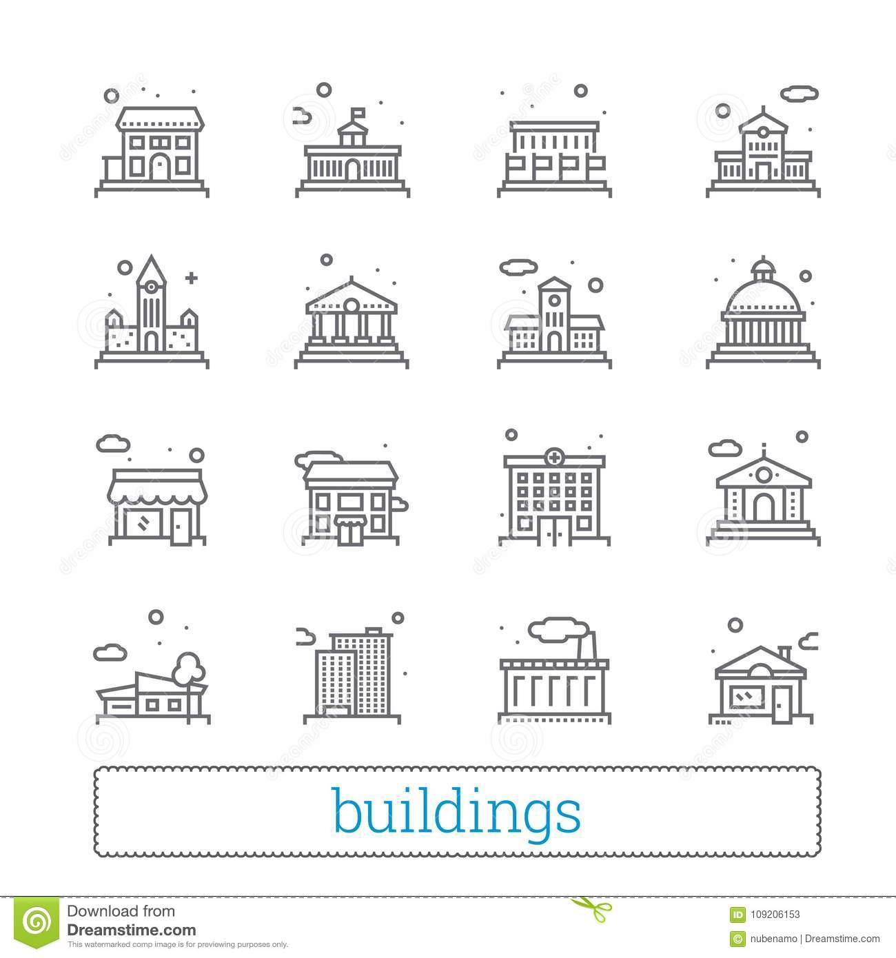 Building thin line icons. Public, government, education and personal houses. Modern linear vector design elements.
