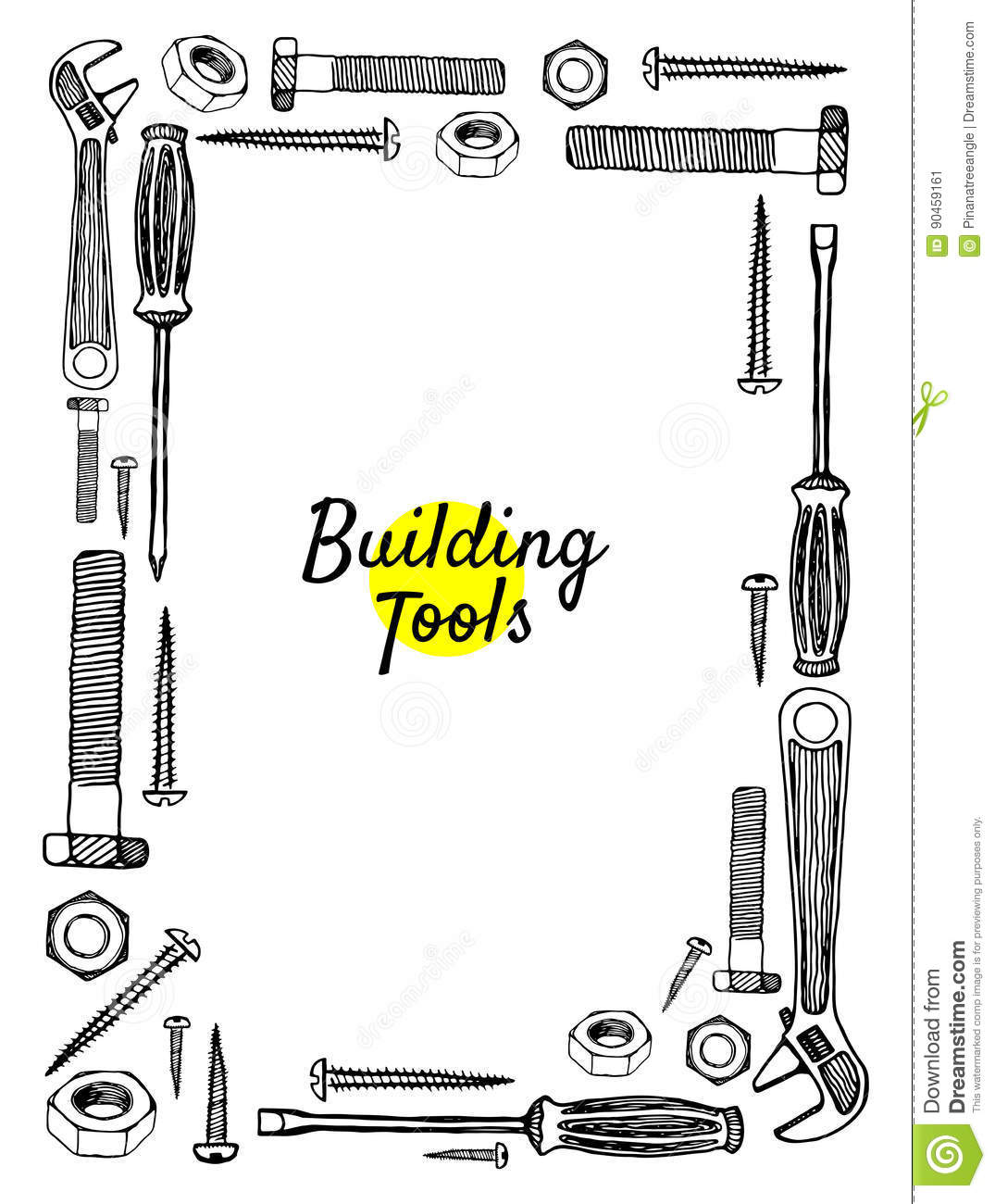 Building Tools Hand Drawn Frame Stock Vector ...