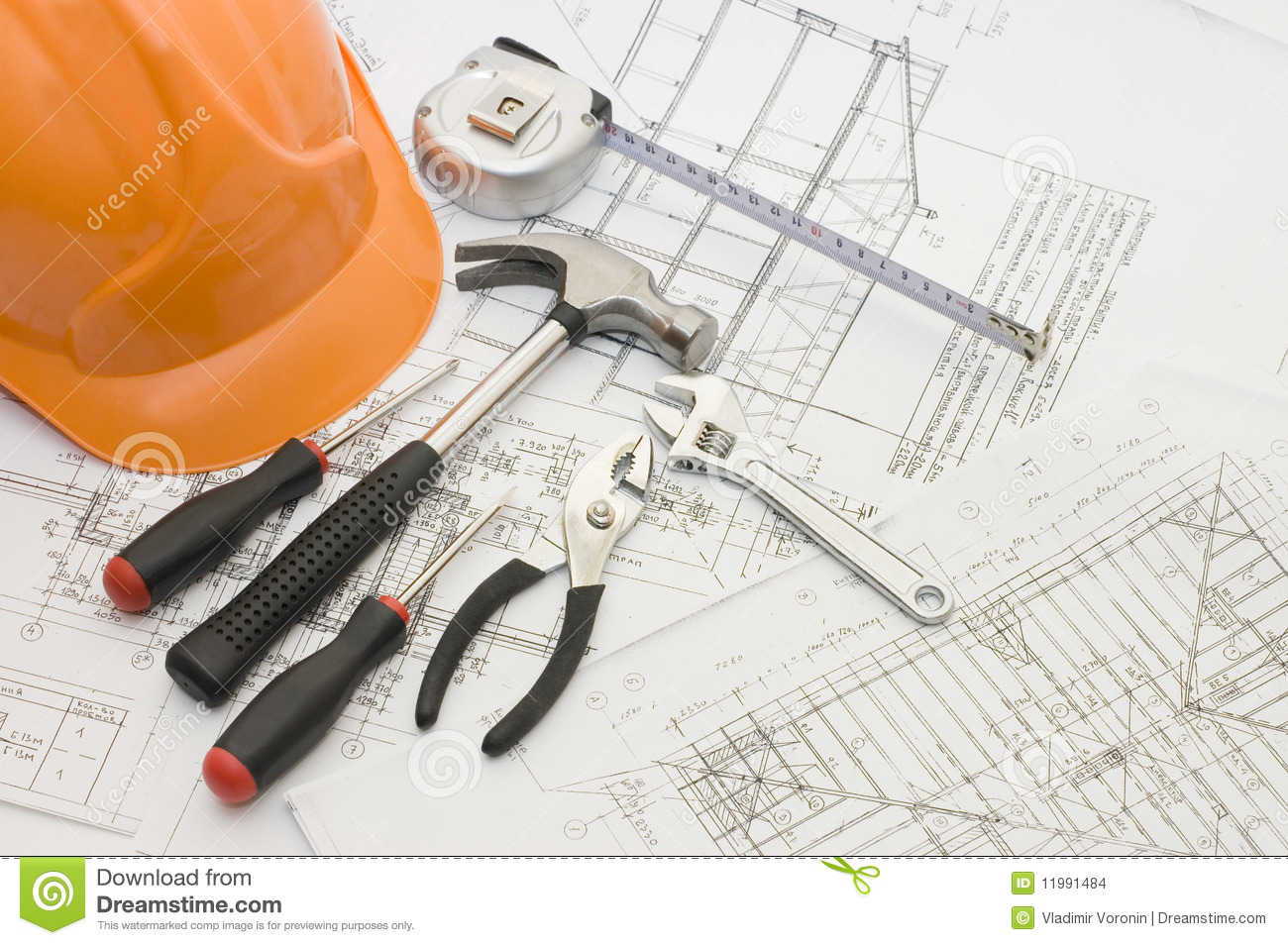 Building tools on the house plan stock photo image 11991484 Tools to build a house