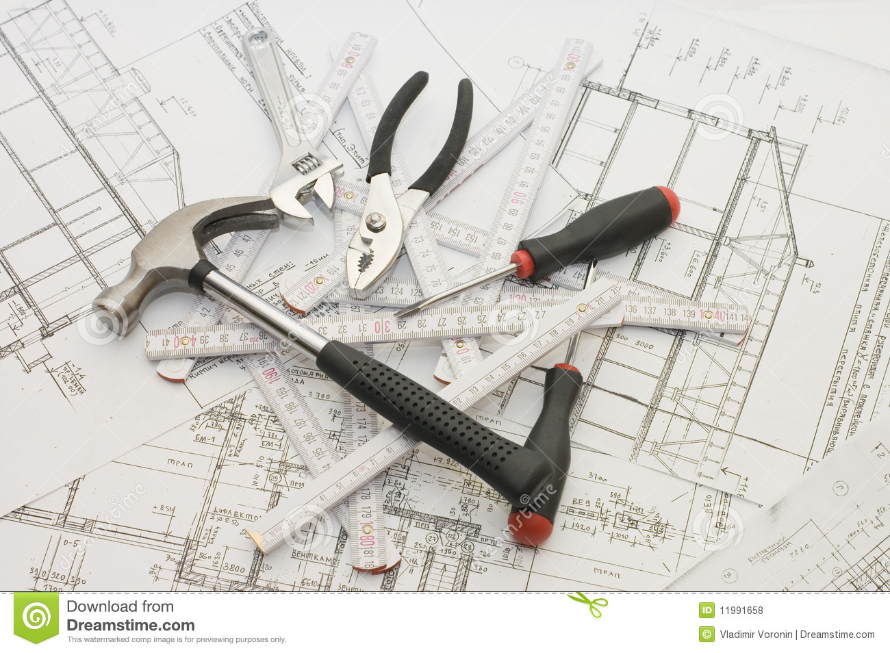Building tools on the house plan royalty free stock photos for Tools to build a house