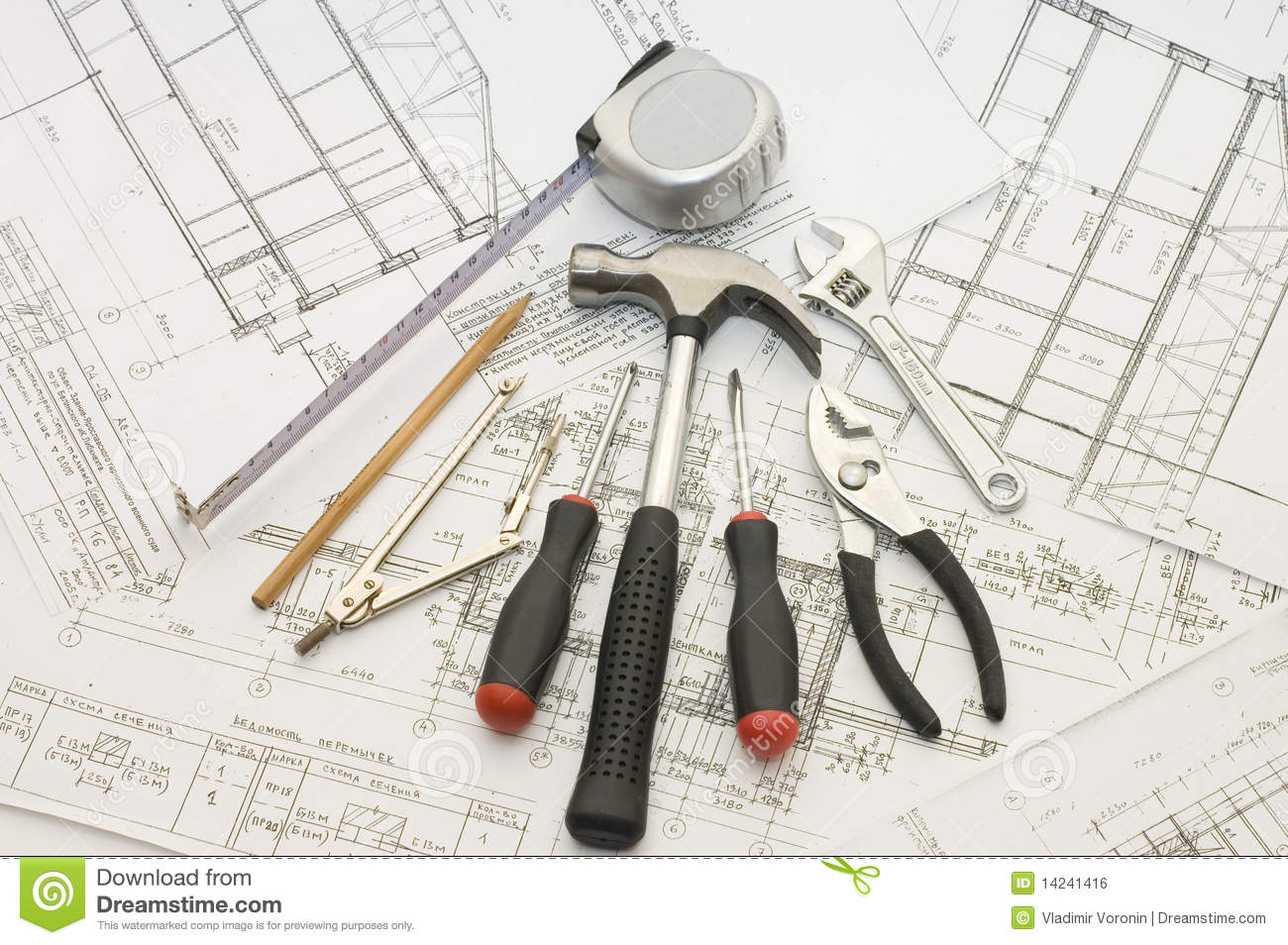 Building Tools On The House Project Royalty Free Stock