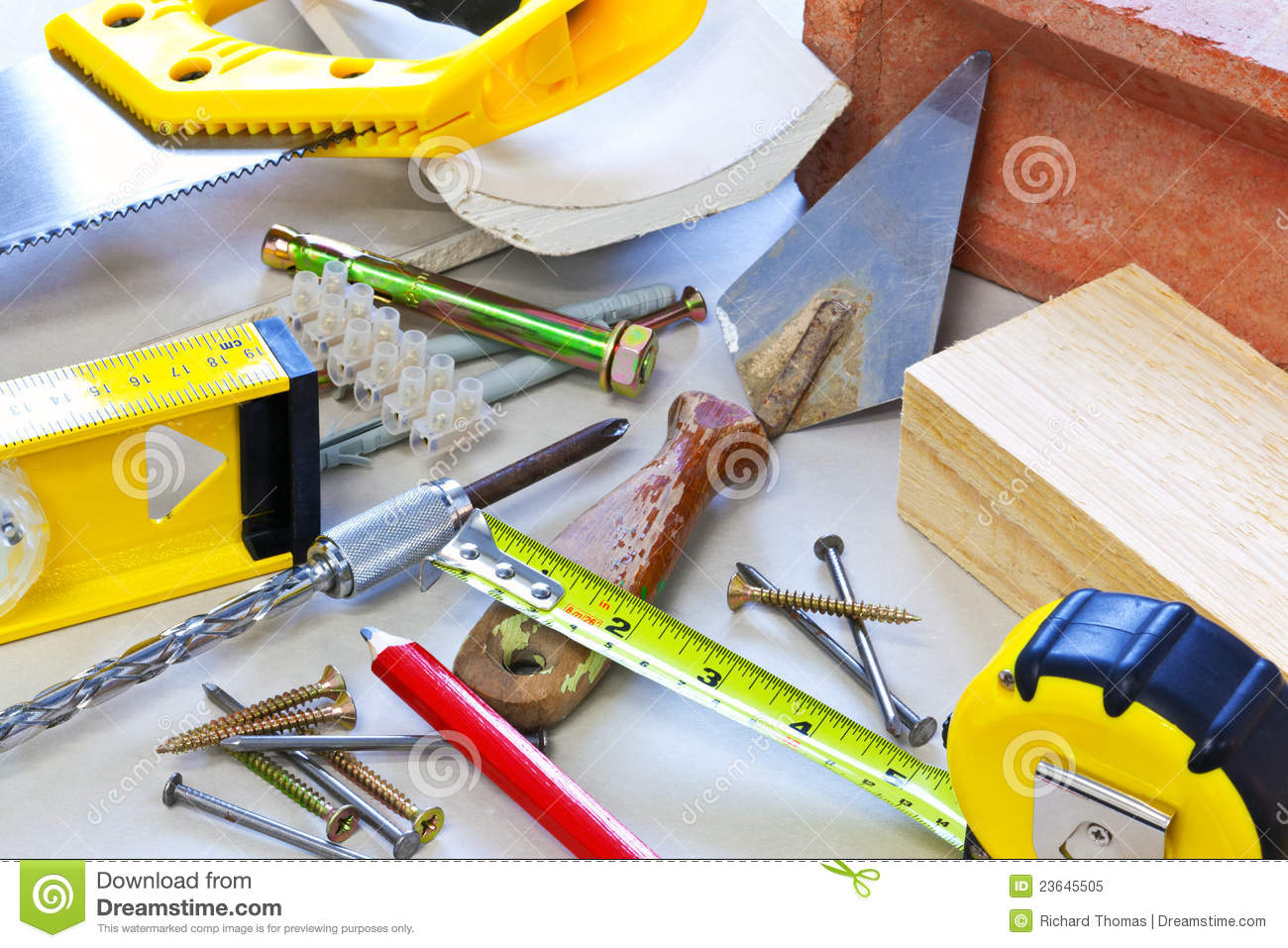 Building tools and materials royalty free stock photo for Supplies to build a house