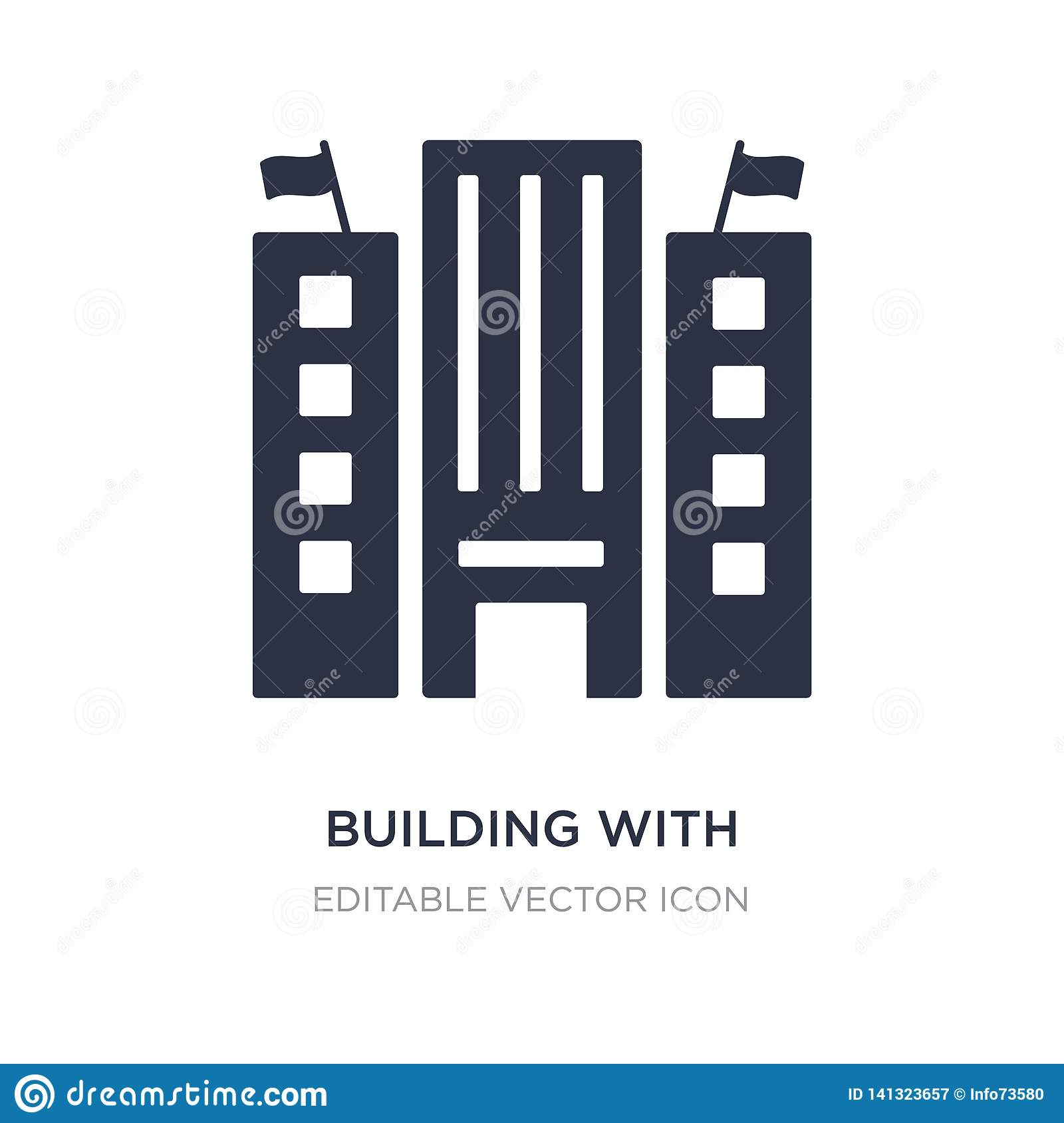 building with two flags icon on white background. Simple element illustration from Buildings concept