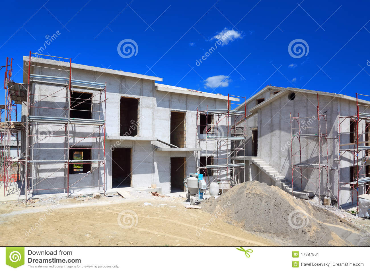 Building of two story concrete house stock image image for Building a concrete house