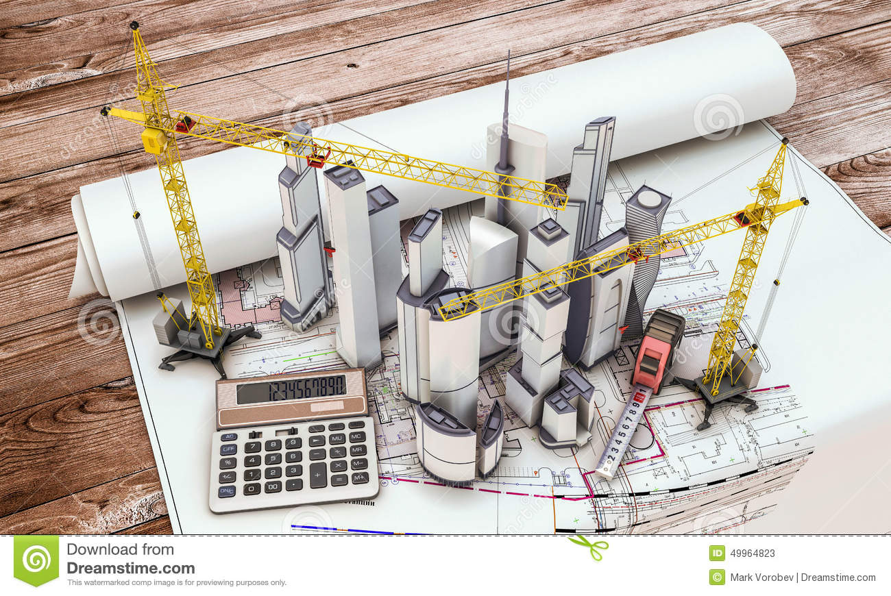 Building under construction with crane stock illustration for Build best construction