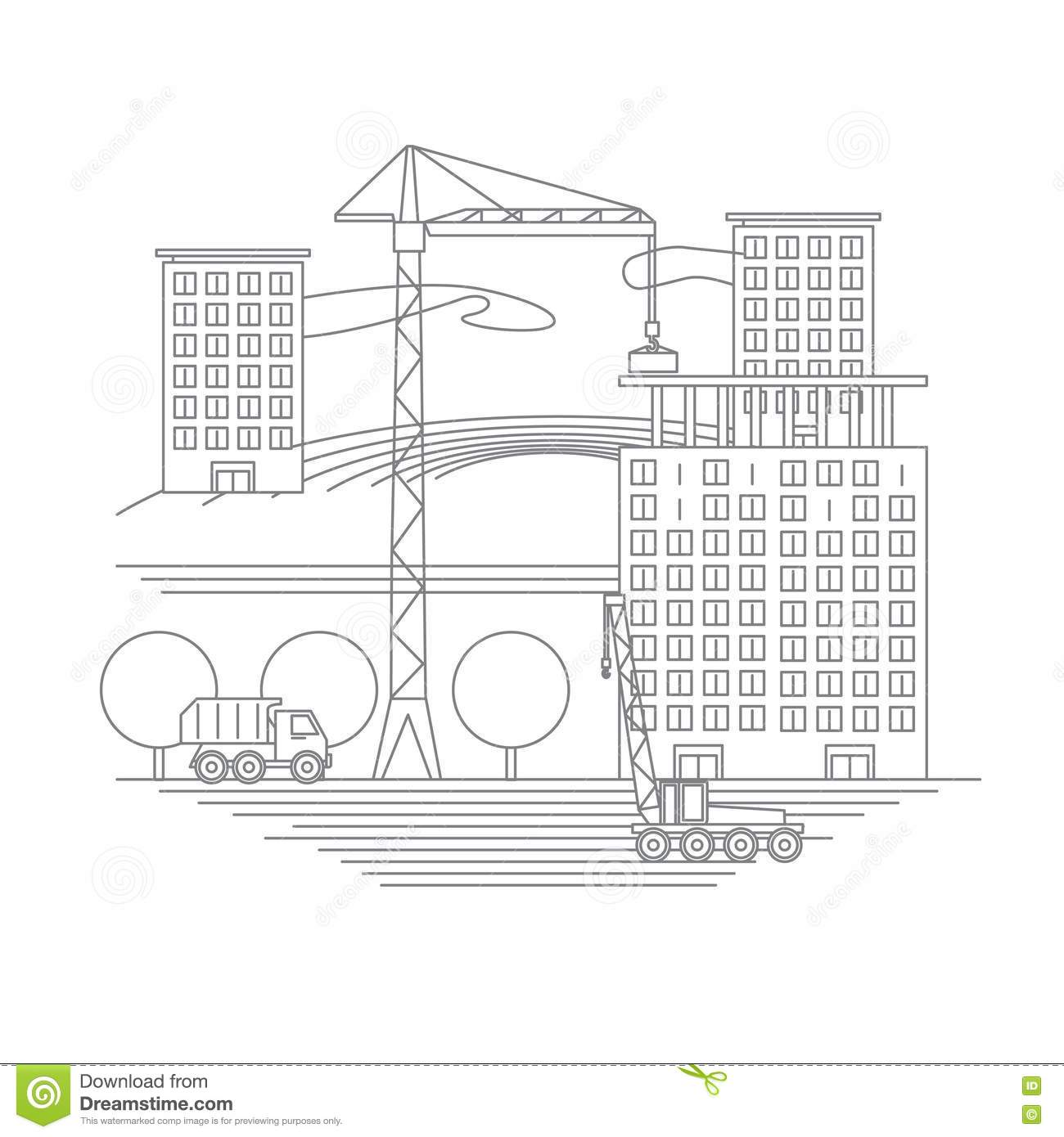 Building Under Construction Site Infographicsvector Illustration
