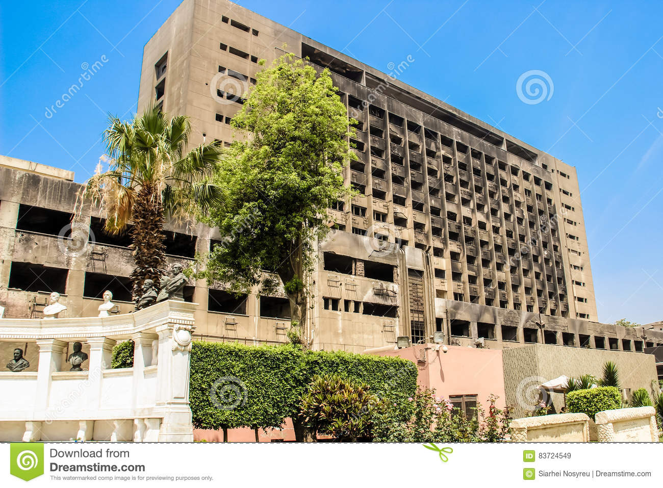 The Building Used By The National Democratic Party Of The Ousted President Mubarak Editorial Stock Image