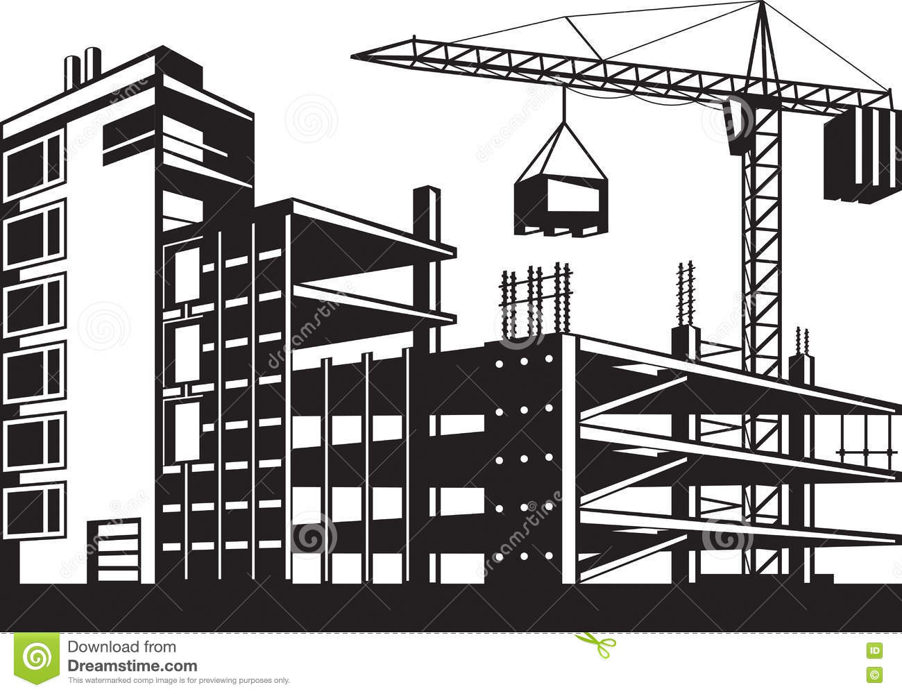 Building In Various Stages Of Construction Stock Vector
