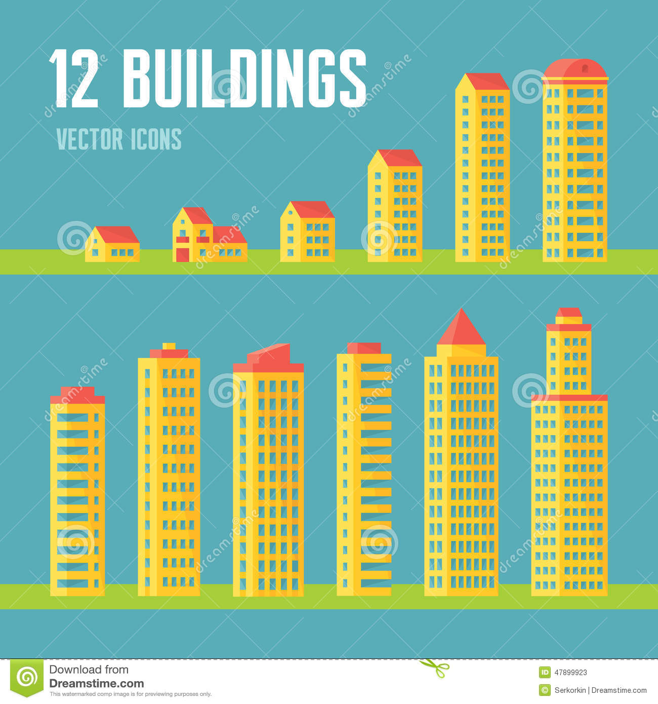 12 building vector icons in flat design style for for Flat architecture design