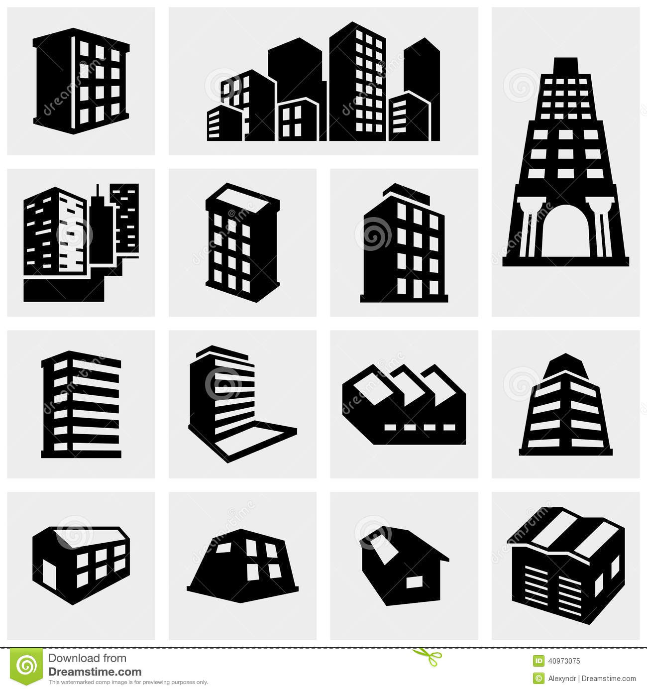 Building Vector Icons Set On Gray Stock Vector Image