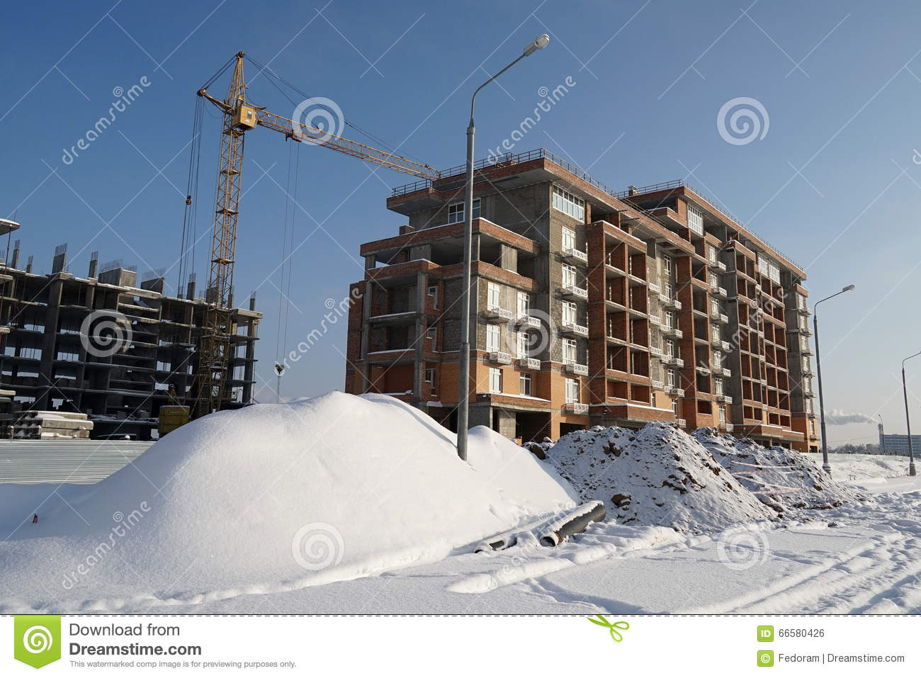 Building Winter Stock Photo Image 66580426